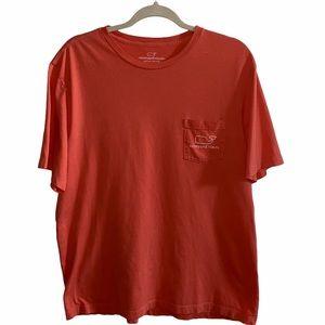 Vineyard Vines Coral Pocket T-Shirt Size Large